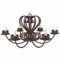 Large Wrought Iron Chandelier - 6 Armed