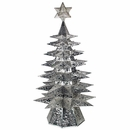Lighted Natural Punched Tin Star Christmas Tree with Colored Marbles