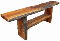 Long Mesquite Slab Sofa Table with Turquoise Inlay