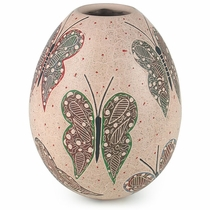Mata Ortiz White Clay Butterfly Vase