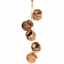 Medium Clay Hanging Pots on Rope - 5 Inch Pots - Set of 2