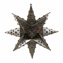 "Small Elegant Tin Star Light With Marbles 14"" Dia."