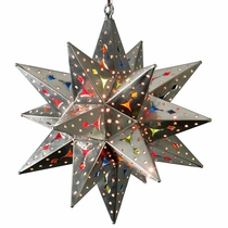 Medium Natural Tin Stained Glass Star Fixture