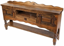 Medium Rustic Wood Turned Leg Buffet Table with 2 Doors, 1 Drawer and Shelf