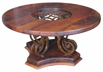 Mesquite and Iron Round CoffeeTable