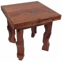 Mesquite Carved End Table with Turquoise Inlay