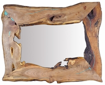 Mesquite Free Form Mirror with Turquoise Inlay