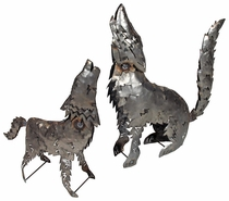 Metal Coyote Yard Art Sculptures - Two Sizes Available