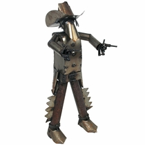 Metal Mexican Bandito with Guns Yard Art Sculpture