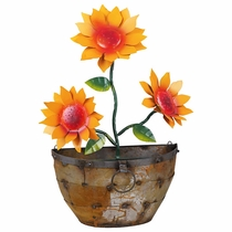Metal Wall Hanging Planter with Sunflowers