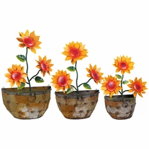Metal Wall Hanging Planter with Sunflowers - Set of 3 Sizes