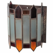 Mexican Aged Tin Castle Wall Sconce with Colored Glass