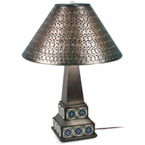 Mexican Aged Tin & Talavera Table Lamp