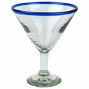 Mexican Blue Rimmed Martini Glasses - Set of 4