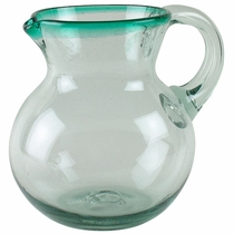 Mexican Bubble Glass Pitcher Green Rimmed