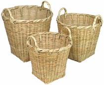 Mexican Cane Baskets with Handles - Set of 3
