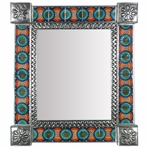 Mexican Decorative Tin Wall Mirror with Talavera Tile Insets