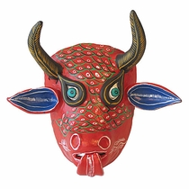 Mexican Folk Art Painted Clay Bull Mask