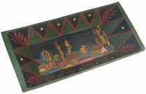 Mexican Folk Art Painted Wood Dough Bowl with Campesina