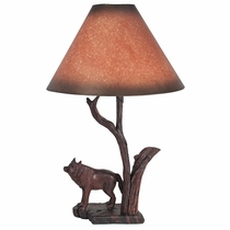 Mexican Gray Wolf Carved Ironwood Table Lamp