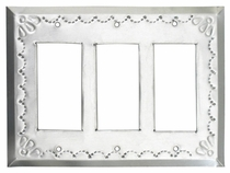 Mexican Natural Tin Triple Rocker Switch Plate - Star