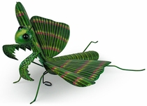 Mexican Painted Tin Praying Mantis Sculpture