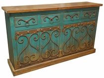 Mexican Painted Wood Buffet with Iron Accents