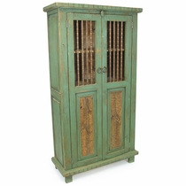 Mexican Painted Wood Cabinet with Spindle Doors - Green