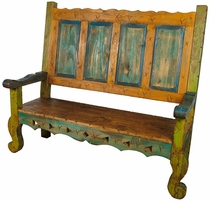 Mexican Painted Wood Captain's Bench