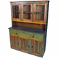 Mexican Painted Wood China Cabinet with Glass