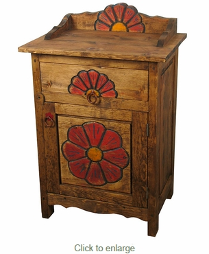 Mexican Painted Wood Carved Flower Nightstand