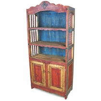 Mexican Painted Wood Open Hutch with Spindle Sides
