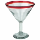Red Rimmed Martini Glass - Set of 4