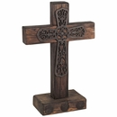 Mexican Rustic Painted Wood Standing Cross with Iron Cross