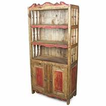 Mexican Rustic Pine Kitchen Hutch with Red Accents