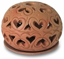 Mexican Terracotta Heart Luminary with Candle Plate