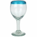 Turquoise Rim Mexican Wine Glasses - Set of 4