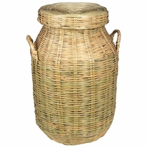 Mexican Woven Cane Storage Basket with Lid