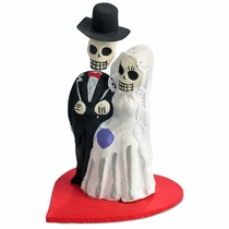 Mini Bride & Groom Skeletons on Heart - Set of 2