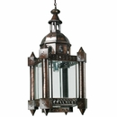 Monk Aged Tin and Glass Hanging Light Fixture