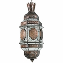 Moroccan Aged Tin and Glass Hanging Light Fixture - Extra Large