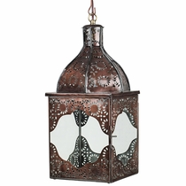 Morrocan Aged Tin and Glass Hanging Lantern