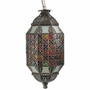 Mosaic Aged Tin and Colored Glass Hanging Light Fixture