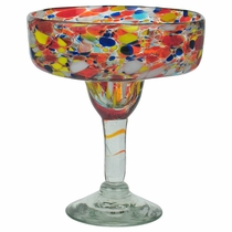 Multi Color Confetti Margarita Glass - Set of 4