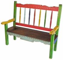 Multicolor Santa Fe Style Painted Wood Bench