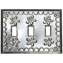 Natural Punched Tin Triple Switchplate - Star