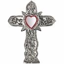 Natural Tin Cross with Heart Mirror - Set of 2