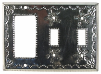 Natural Tin Double Switch & Rocker Cover - Star