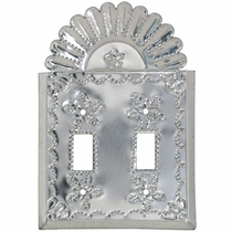 Natural Tin Double Switchplate - Star with Crown