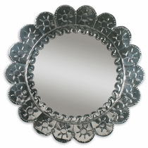 Natural Tin Round Petal Mirror